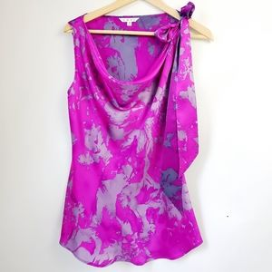 Cabi Fit To Be Tied Silk Fushsia Blouse SZ M
